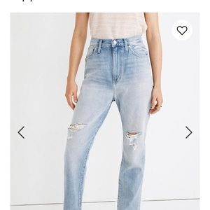 Madewell distress Mom Jeans.